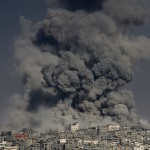 Smoke from the explosion of an Israeli strike rise over Gaza City
